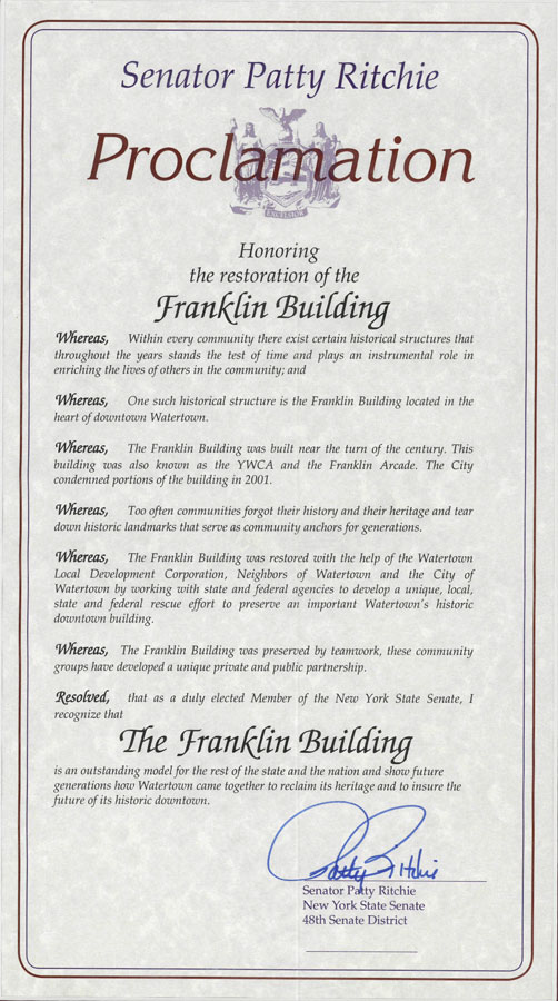 Proclamation honoring Franklin restoration